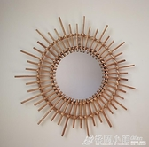 藤編梳妝化妝鏡子創意藝術裝飾圓鏡民宿客廳玄關牆面壁飾掛鏡 中秋節