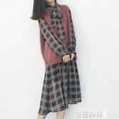 2019秋冬季法式收腰顯瘦氣質毛衣馬甲配裙子時尚兩件套裝洋裝女『快速出貨』