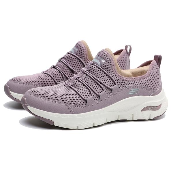 SKECHERS 慢跑鞋 ARCH FIT 粉 鬆緊帶 足弓 網布 健身 女 (布魯克林) 149056LAV