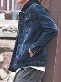 春秋季黑色牛仔外套男韓版破洞學生帥氣衣服潮流寬松夾克修身褂子  晴光小語