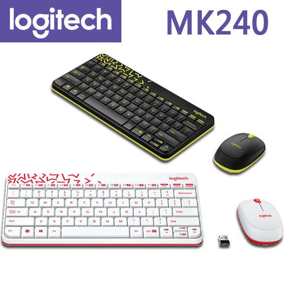 【免運費】Logitech 羅技 MK240 無線滑鼠鍵盤組(2色) 精巧 舒適 流線型外觀