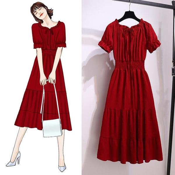 短袖洋裝連身裙!復古風紅色韓版網紅氣質一字肩收腰顯瘦雪紡中長款連身裙女2F074B日韓屋