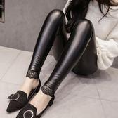 pu皮褲女蕾絲緊身小腳褲 秋冬新款高腰顯瘦外穿加絨加厚打底褲 新年禮物