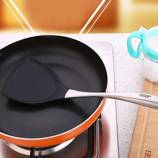 PUSH!廚房用品 不沾鍋鏟矽膠鍋鏟不黏鍋鍋鏟炒菜鏟(304不鏽鋼手把)D63