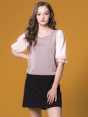 3折出清[H2O]植絨點點網紗加雪紡剪接雙層泡泡袖線衫上衣 - 黑/白/淺紫色 #8660007