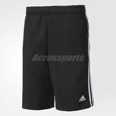 adidas 短褲 Essential 3S Short FT 男款 素面 運動褲 膝上 足球 三條線 基本款 穿搭 黑白 【PUMP306】 BK7468