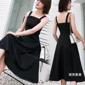 洋裝夏季無袖赫本小黑裙修身吊帶中長版大擺連身裙女XS-2XL