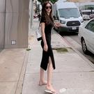 短袖T恤裙長款過膝新款洋裝女寬松顯瘦百搭打底裙氣質黑色裙子 檸檬衣舍