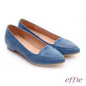 effie 繽紛舒適 真皮動物紋尖楦低跟鞋  淺藍