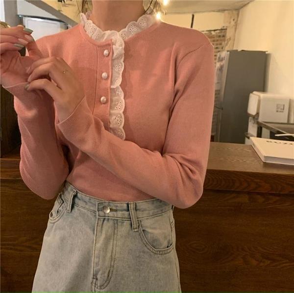 韓版蕾絲拼接修身立領針織衫 依酷衫