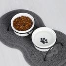 寵物碗 陶瓷貓碗寵物碗護頸椎碗狗糧碗貓盆貓食盆貓糧盆水碗鐵藝支架雙碗【幸福小屋】