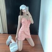 連身褲 背帶連身褲女夏裝新款韓版收腰顯瘦時尚性感休閒短褲素色百搭褲子 韓國時尚週