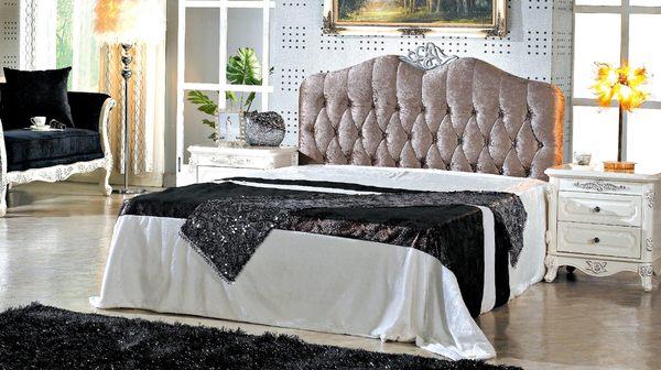 【森可家居】辛妮水鑽5尺床頭片 7JX88-13 雙人 法式古典 宮廷風 絨布