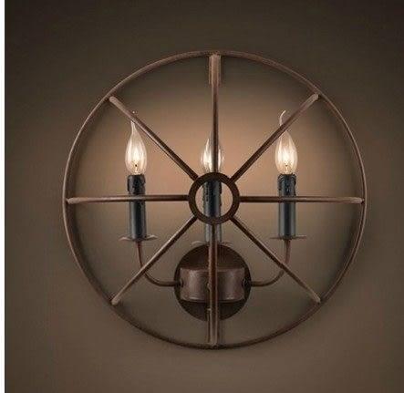 設計師美術精品館美式鄉村工業餐廳酒吧咖啡館古典燈 Loft 複古工業過道鐵圓環壁燈