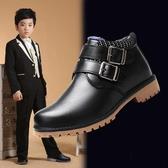男童皮鞋黑色秋冬演出鞋英倫軟底小學生加絨保暖中大童男孩馬丁靴 夢幻衣都