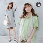 *蔓蒂小舖孕婦裝【M8092】*台灣製.哺乳衣.馬卡龍交叉領彈力洋裝