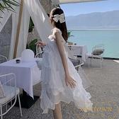 連身裙女溫柔小個子沙灘裙氣質吊帶裙女夏【繁星小鎮】