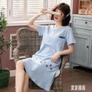 胸墊睡衣女夏季韓版睡裙薄款可愛純棉寬鬆短袖孕婦中長款貓魚 LR5749【東京潮流】