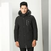 羽絨外套-時尚個性保暖中長款男連帽夾克73ka40[巴黎精品]