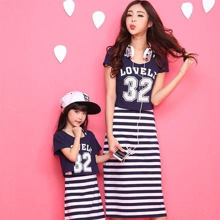 Lovely32字母短袖上衣親子裝(女童)