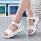 涼鞋 新款夏季新款簡約真皮平底涼鞋女正韓百搭厚底中跟坡跟學生少女鞋