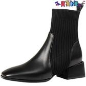 踝靴 高跟短靴女2021新款針織彈力顯瘦瘦襪子靴粗跟馬丁春秋單靴英倫風【秋冬大上新】