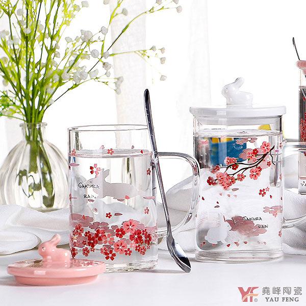 【堯峰陶瓷】 櫻花立體兔 高硼硅玻璃杯 單入   野餐擺盤適用   贈品首選現貨