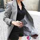 外套 OL幹練單釦修身顯瘦中長版西裝外套...