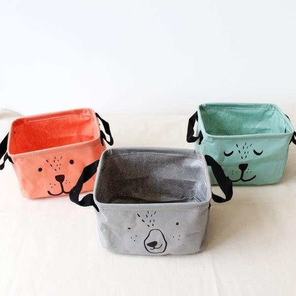 【發現。好貨】韓國海軍風小狗小熊純色亞麻棉麻卡通條紋桌面收納盒 家居環保收納收納箱