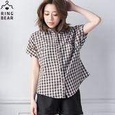 格紋--陽光女孩質感木扣特殊設計長版襯衫(咖.藍XL-5L)-H170眼圈熊中大尺碼◎