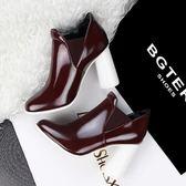 冬季復古騎士靴 粗跟高跟圓頭短靴《小師妹》sm636