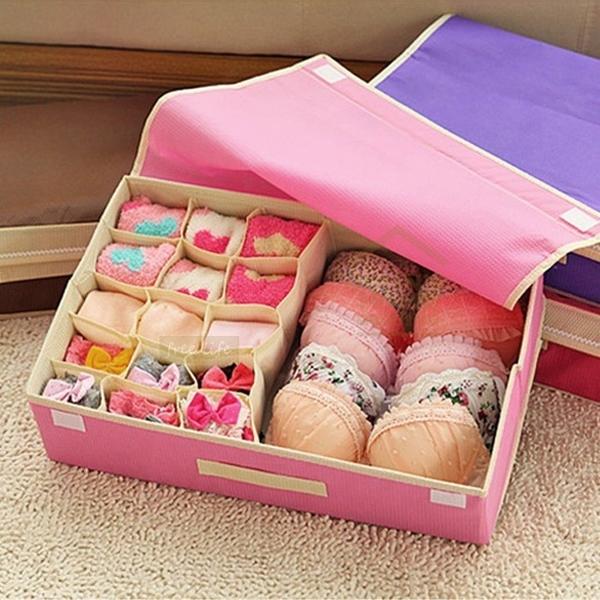15格二合一內衣內褲襪子胸罩收納盒 有蓋抽屜衣物收納箱 儲物盒 整理盒【SA121】《約翰家庭百貨