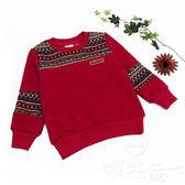 純棉 保暖針織圖騰拼接長袖上衣 大童 不倒絨 針織 民俗 聖誕 男童 童裝【哎北比童裝】