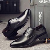 皮鞋男鞋秋季潮鞋英倫透氣男士尖頭商務青年黑色鞋子 蘿莉小腳ㄚ