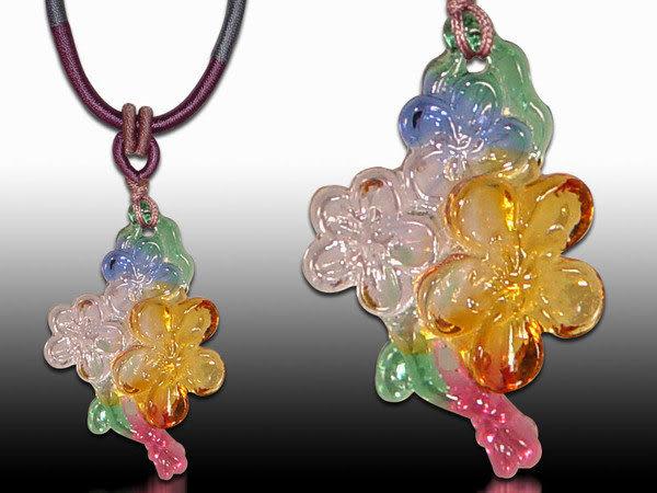 鹿港窯~居家開運水晶琉璃項鍊~梅花◆ 附精美包裝◆免運費送到家