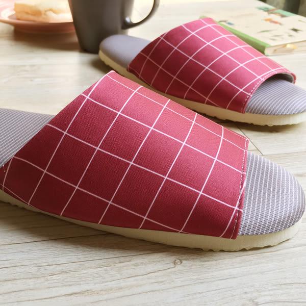 台灣製造-療癒系-舒活布質室內拖鞋-方格-紅
