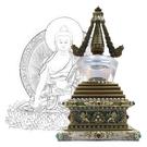 28.5公分 純銅菩提塔 釋迦牟尼佛 塔底可裝藏 銅色琉璃