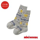 MIKI HOUSE 日本製 普奇熊遠紅外線保暖兒童襪(灰)