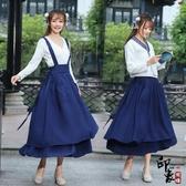 森女學院風復古寬腰封百褶大擺雙層背心背帶長裙