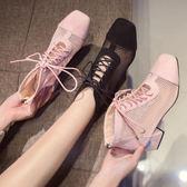 馬丁靴網面透氣短靴女配裙子的粗跟馬丁靴夏季新款百搭厚底鏤空涼靴 小天使