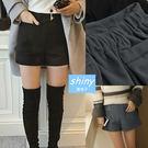【V2202】shiny藍格子-時尚年華.百搭高腰闊腿毛呢短褲