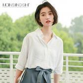 雪紡襯衫 雪紡白色襯衫女韓版夏裝2019新款寬鬆短袖學生小清新v領上衣服女 HT1870