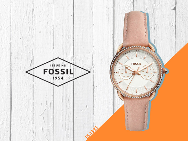 【時間道】FOSSIL Tailor華麗都會風仕女腕錶 /白面玫瑰金殼裸粉皮帶(ES4393)免運費