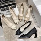 夏季白色粗跟高跟鞋女2021年春季新款時尚百搭網紅伴娘鞋黑色單鞋 快速出貨