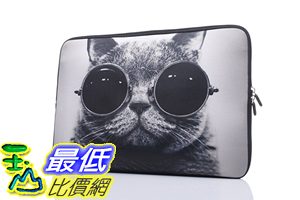 [106美國直購] 防護袋 15-15.6吋 B01LPZY6OY Laptop Sleeve Case Handle Bag Neoprene Cover Macbook Pro Cat Sunglasses