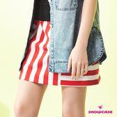 【SHOWCASE】雙條紋拼接鬆緊腰俏麗A字短裙(紅)
