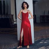限時38折 韓國風復古露背紅色開叉性感無袖洋裝