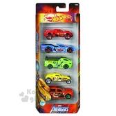 〔小禮堂〕MARVEL漫威 迷你塑膠迴力車組《5入.紅盒》小汽車.玩具車.兒童玩具 0887961-63173