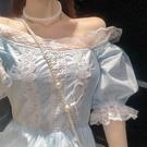 方領洋裝 溫柔風甜美茶歇仙女裙子2021新款夏公主初戀泡泡袖連身裙法式復古 晶彩