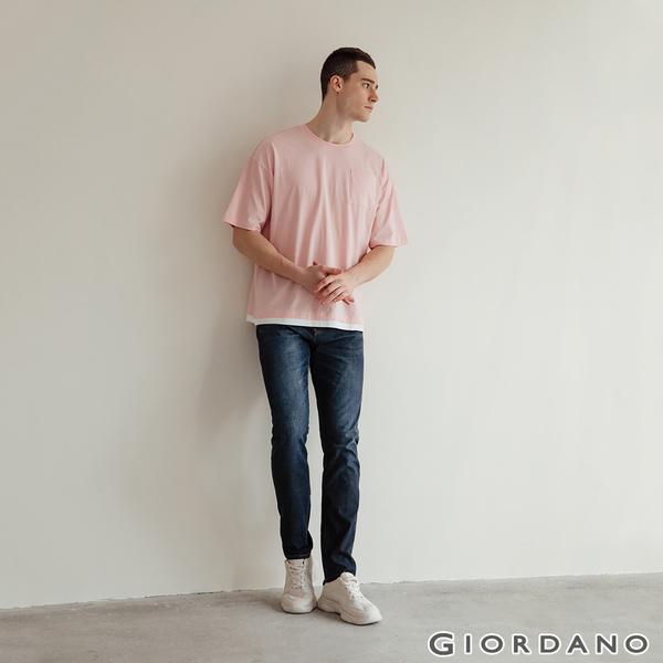 【GIORDANO】男裝彈性輕薄牛仔褲 - 92 中藍